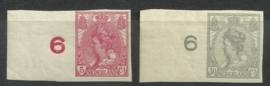 Nvph  82/83 Wilhelmina Ongetand (gelijke randstukjes) Postfris