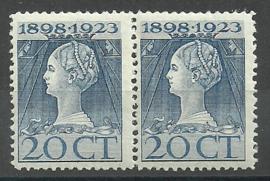 Nvph 125F (11½×11½) 20 ct Jubileum 1923 in paar Postfris (1)