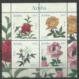 Aruba 541 Pioenen in blok  2011 Postfris