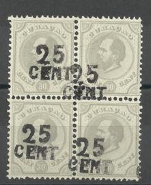 Curacao  18f Hulpzegel in blok van 4 Ongebruikt