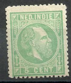 Nederlands Indië   8C 13¼ × 14 KG 5ct Willem III Ongebruikt (1)