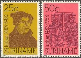 Suriname Republiek 380/381 500ste Geboortedag Maarten Luther 1983 Postfris