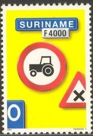 Suriname Republiek 1129 Verkeersbord 7e Uitgifte 2001 Postfris