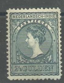 Nederlands Indië  59C (11½×11) 2½ GLD Koningin Wilhelmina Ongebruikt