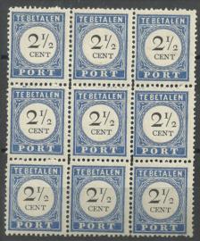 Port  16a 2½ct 1894/1910 Cijfer en Waarde Type III in blok met P16b-16c-16f Postfris + Certificaat
