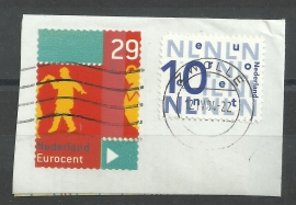 Nvph 2228/2229 verschoven gestanst (circa 1cm) Gebruikt op briefstukje