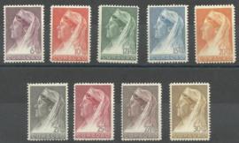 Curacao 126/134 Wilhelmina met Sluier Postfris (2)