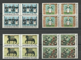 Nvph. 1079/1082 Kinderzegels 1975 in Blokken Postfris