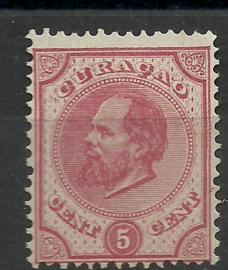 Curacao   3C 13½ × 13¾  5 ct Willem III Ongebruikt (2)