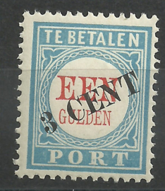 Port  27 3 ct op 1 Gld  1906/1910 Type I (variëteit 5) Postfris (1)