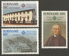Suriname Republiek 318/320 Evangelische Broeder Gemeente 1982 Postfris