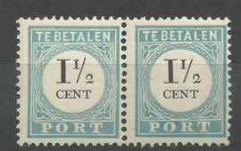 Port   4Dfi + 4D 1½ ct Cijfer 1881-1887 (12½ × 12 ½) Type III + lange breukstreep  Postfris (1)
