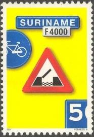 Suriname Republiek 1115 Verkeersbord 6e Uitgifte 2001 Postfris