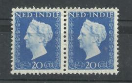 Nederlands Indië 338 PM5 in paar Postfris