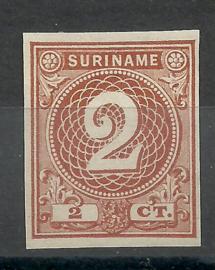 Suriname  14b 2 ct Emissie 1890 (bruin) Johan Enschedé  Ongebruikt (1)