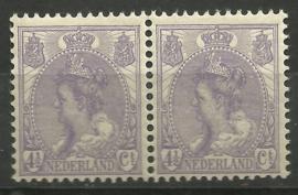 Nvph  59 4½ ct Koningin Wilhelmina Bontkraag in paar Postfris (1)