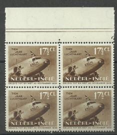Nederlands Indië 239P2 17½ct 10 Jaar Indische Luchtvaart in blok van 4 Postfris