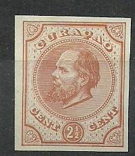 Curaçao   1f  oranjebruin 2½ct Berlijnse Kleurproef Ongebruikt (1)
