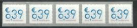 Kleurstreep op Nvph 2101A (13½×13¼) € 0,39 ct Zakenpost in strip van 5 Postfris