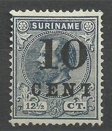 Suriname  29f 10ct op 12½ct Type II 1873-1889 Hulpuitgifte Ongebruikt - Gebroken T