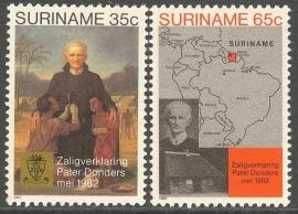 Suriname Republiek 298/299 Pater Petrus Donder 1982 Postfris