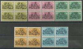 Nvph 596/600 Kinderzegels 1952 in Blokken Postfris