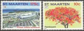 Sint Maarten  86/87 Frankeerzegels (16 en 17) Postfris