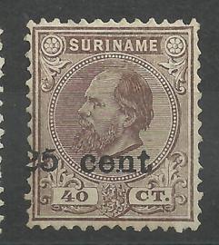 Suriname  37 25ct op 40ct 1873-1888 Hulpuitgifte Ongebruikt - Verschoven Opdruk