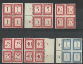 Nieuw Guinea P1/P6 Cijfer in Rechthoek Postfris (Blokken van 4)