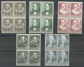 Nvph 305/309 Zomerzegels 1938 Blokken van 4 Postfris (1)