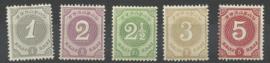 Curacao  13/17 Cijfer 1889/1891 Postfris (3)