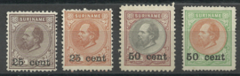 Suriname  37/40 1873-1888 Hulpuitgifte (4) Ongebruikt + 38 PM