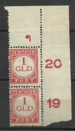 Port 79 1 Gld in hoekstuk met drukkersteken 32 Postfris (1)