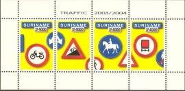 Suriname Republiek 1281 Blok Verkeersborden 2003/2004 Postfris