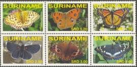Suriname Republiek 1431/1436 Vlinders 2007 Postfris (los)