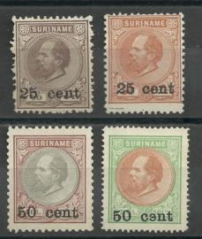 Suriname  37/40 1873-1888 Hulpuitgifte (5) Ongebruikt