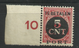Port  68 5 ct Overdruk 1899-1913 + 1899-1921 met verschoven opdruk Postfris (1)