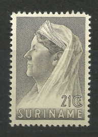 Suriname 171A (12½ × 12½) 21 ct Wilhelmina met Sluier Postfris (1)