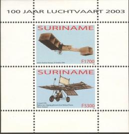 Suriname Republiek 1226 Blok 100 Jaar Luchtvaart 2003 Postfris