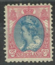 Nvph  71B 25 ct  (11½×11½) Koningin Wilhelmina Bontkraag Ongebruikt