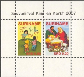 Suriname Republiek 1492 Blok Kind en Kerst Zegel 2007 Postfris