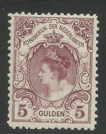 Nvph  79D (11½×11½) 5 Gld Koningin Wilhelmina Bontkraag Postfris (1) + Certificaat