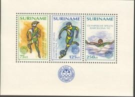 Suriname Republiek  736 Blok  Olympische Spelen 1992 Postfris
