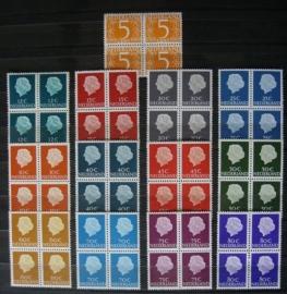 Nvph 465b + 618/634b Koningin Juliana Fosfor in Blokken Postfris