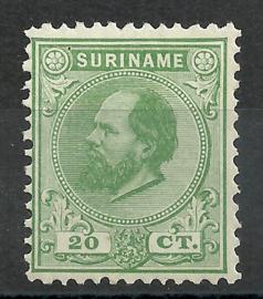 Suriname   9C (12½ × 12)  20ct Willem III Ongebruikt (1)