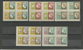 Nvph 612/616 Kinderzegels 1953 in Blokken Postfris