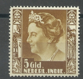 Nederlands Indië 265P 5 Gld Koningin Wilhelmina Postfris + Certificaat
