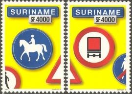 Suriname Republiek 1251/1252 Verkeersbord 15e+16e Uitgifte Postfris