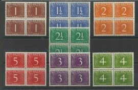 Nederlandse Antillen 211/217 in blokken van 4 Postfris