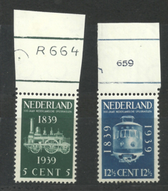 Nvph 325/326 Spoorwegzegels Postfris met Etsingnummers (1)
